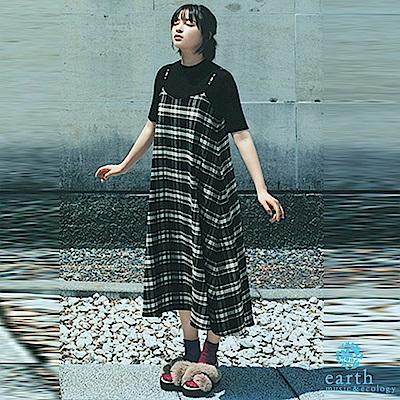 earth music  廣瀨鈴著用款-格紋背心ALINE洋裝+短袖素面