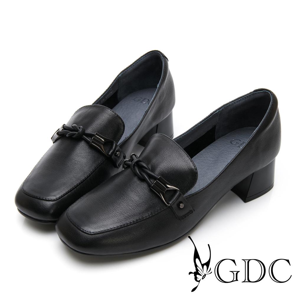 GDC-歐美時尚潮流真皮金鍊方頭樂福粗跟鞋-黑色