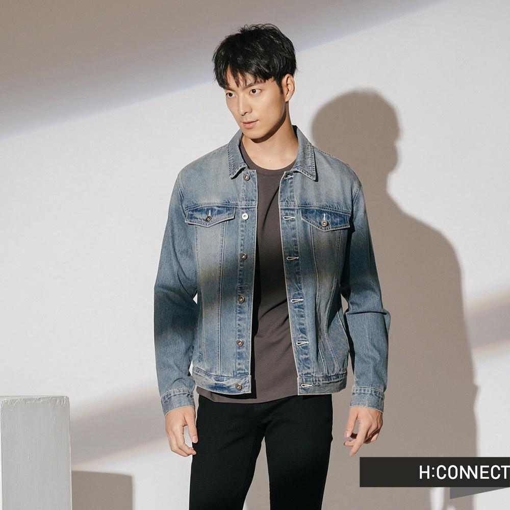 H:CONNECT 韓國品牌 男裝-仿舊感刷色牛仔外套-藍