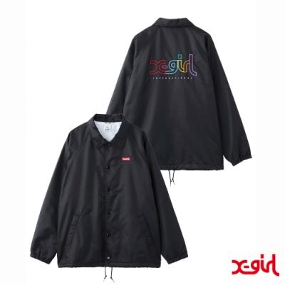 X-girl EMBROIDERY MILLS LOGO COACH防風外套-黑