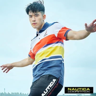 Nautica COMPETITION男裝炫彩條紋短袖POLO衫- 藍色