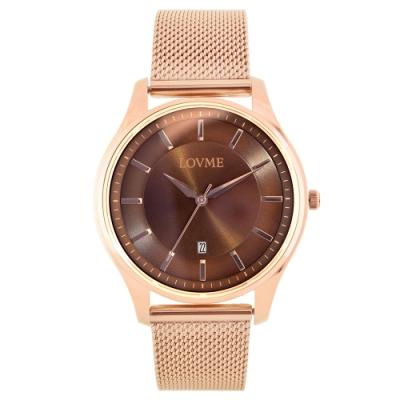 LOVME 文青時尚米蘭手錶-IP玫x灰/41mm