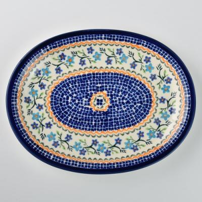 波蘭陶 藍花綠葉系列 橢圓形餐盤 29cm 波蘭手工製