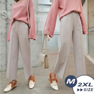 【LANNI 藍尼】壓摺毛呢九分闊腿褲-3色(M-2XL)●