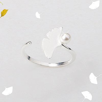 iSFairytale伊飾童話 楓葉珍珠 絲光磨砂白銀銅鍍30銀開口戒指