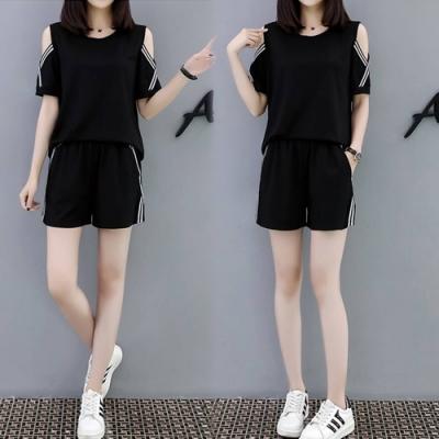 【韓國K.W.】(預購)活力時光露肩休閒時尚套裝褲-1色