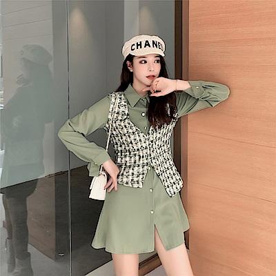DABI 韓系氣質呢子馬甲襯衣連身裙套裝長袖裙裝