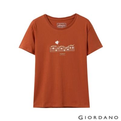 GIORDANO 女裝MUSIC系列印花短袖T恤- 22 夕陽紅