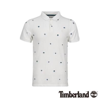 Timberland 男款白色刺繡短袖POLO衫 A1YGZ