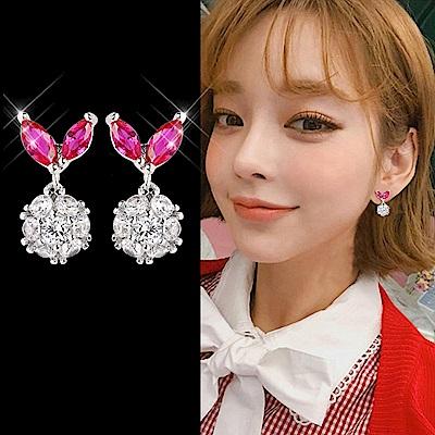 梨花HANA  韓國S925銀針小巧桃紅水鑽精緻耳環