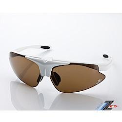 【Z-POLS】MIT頂級可掀設計質感白搭配帥氣茶PC防爆片頂級運動眼鏡