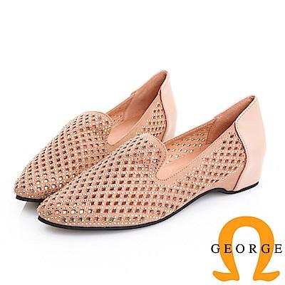 GEORGE 喬治皮鞋 鏤空水鑽真皮內增高淑女鞋 -粉