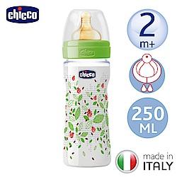 chicco舒適哺乳-自然田園乳膠PP大奶瓶250ML-附單孔2m+奶嘴