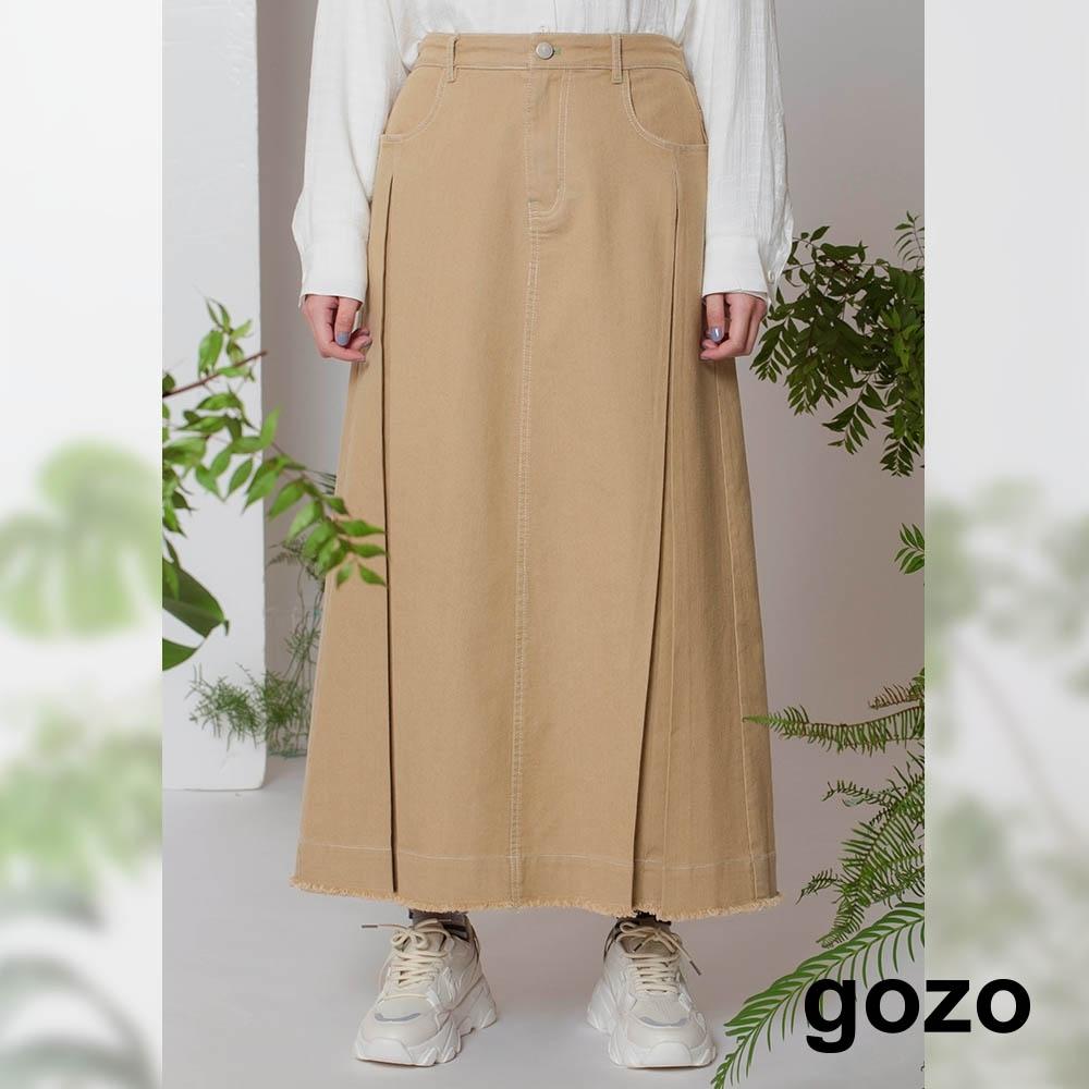 gozo-率性壓線A字長裙(卡其)