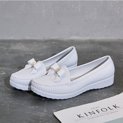 韓國KW美鞋館-復古感小蝴蝶護士鞋-白色