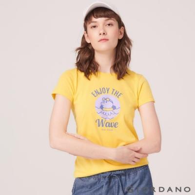 GIORDANO 女裝SUN AND SEA系列印花短袖T恤-82 黃色