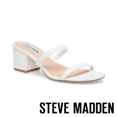 STEVE MADDEN-ISSY 微心機二字細帶粗跟涼拖鞋-白色