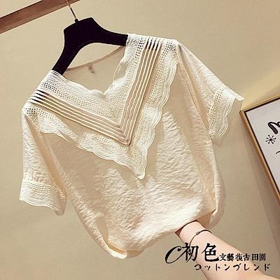 氣質雪紡蕾絲V領上衣-共2色(M-2XL可選)      初色