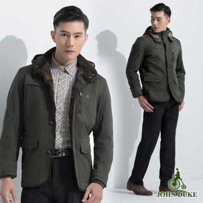 JOHN DUKE高密度保暖領連帽鋪棉外套_軍綠(63-3K8866)