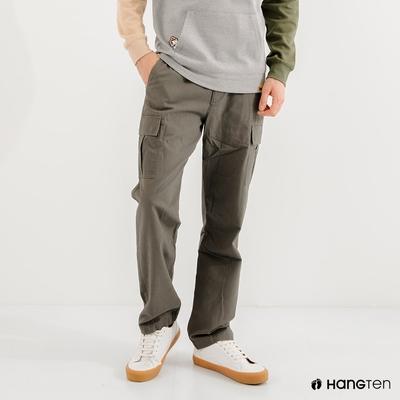 Hang Ten-男裝-REGULAR FIT附腰帶工作褲-綠色