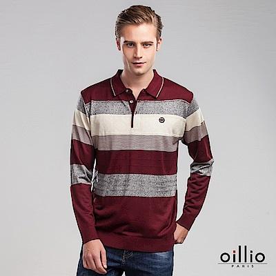 歐洲貴族 oillio 長袖線衫 紳士POLO款 條紋設計 紅色
