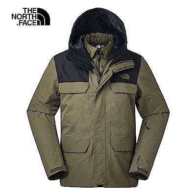 The North Face北面男款綠色防水保暖滑雪外套|3IFL1UV