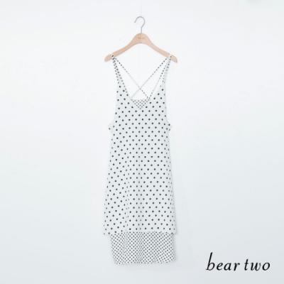 beartwo 點點細肩帶洋裝-白