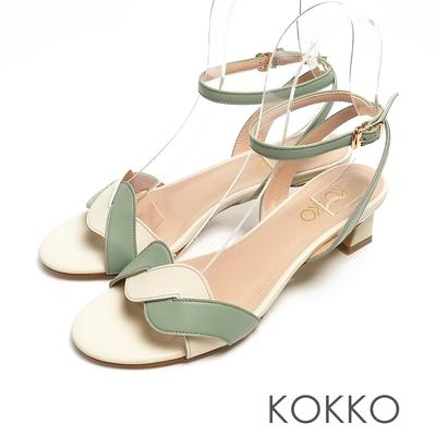 KOKKO優雅羊皮麻花小貓跟踝帶涼鞋白X綠