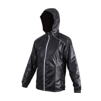 MIZUNO 男路跑風衣外套-防潑水 立領外套 連帽外套 美津濃 黑灰