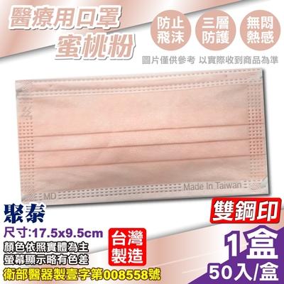 聚泰 聚隆 醫療口罩 (蜜桃粉) 50入/盒