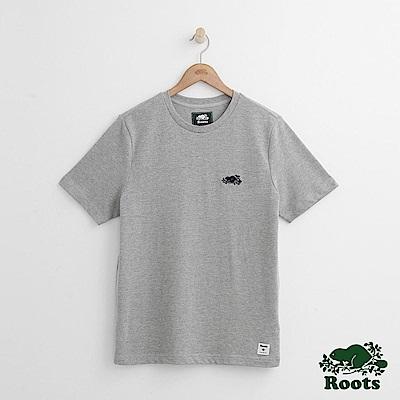 Roots 男裝-左胸海狸短袖T恤-灰色