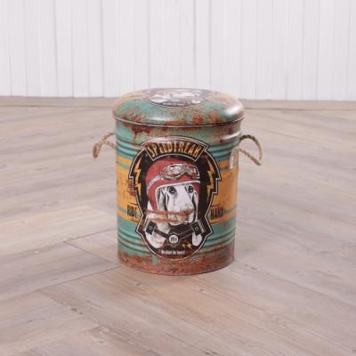 【百貨週年慶暖身 全館5折起-生活工場】Young 工業風格鐵桶收納椅-愛速度的狗