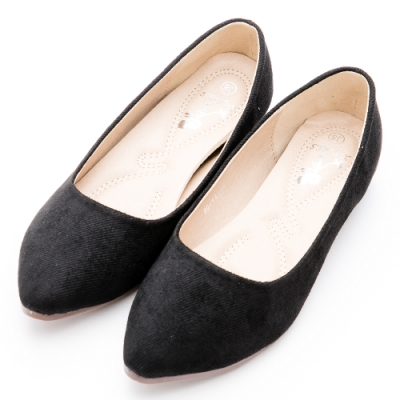 River&Moon韓版微尖頭內增高絨布Q軟底包鞋 時尚黑