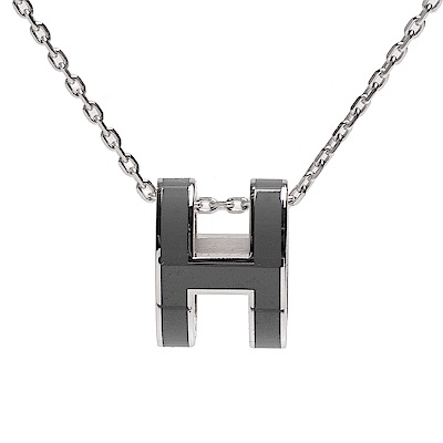 HERMES 經典Pop H立體簍空橢圓LOGO項鍊(暗灰X銀)