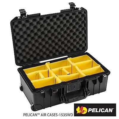 美國 PELICAN 1535AirWD 輪座拉桿超輕氣密箱-含隔板(黑)