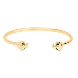 SHASHI 紐約品牌 Panther Cuff 金色美洲豹手環 鑲綠鑽眼睛 亮面優雅圓弧