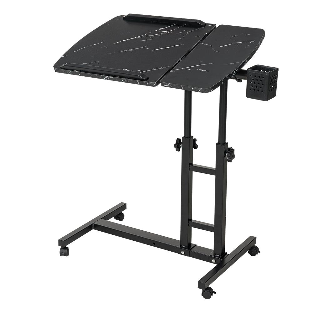 樂嫚妮 DIY日式/360度升降工作桌/懶人桌/電腦桌/NB桌/邊桌-大理石黑色
