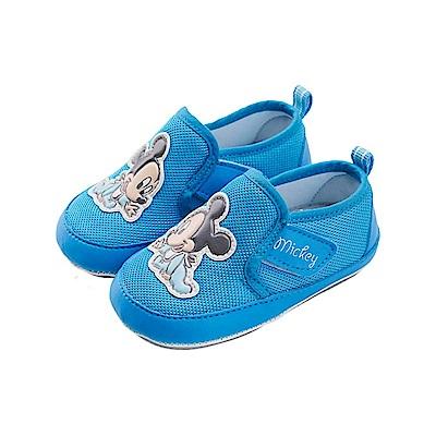 迪士尼 米奇 可愛baby造型 魔鬼氈寶寶鞋-藍