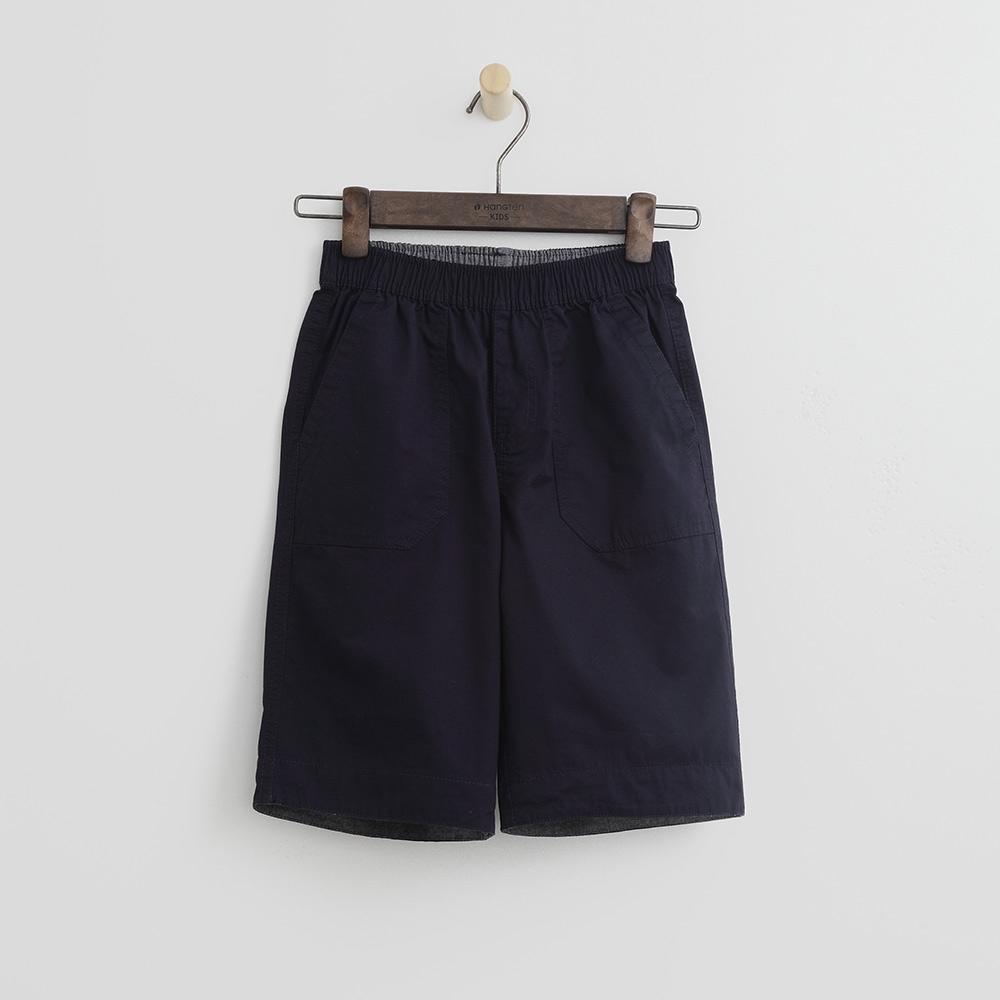 Hang Ten - 男童 - 純色打褶休閒短褲-藍