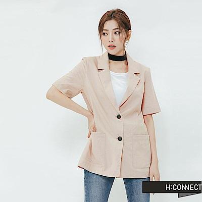 H:CONNECT 韓國品牌 女裝-純色棉麻外套-卡其
