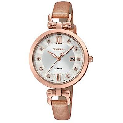 SHEEN 細緻婉約水晶點綴香檳金皮帶腕錶(SHE-4055PGL-7B)杏色/37mm