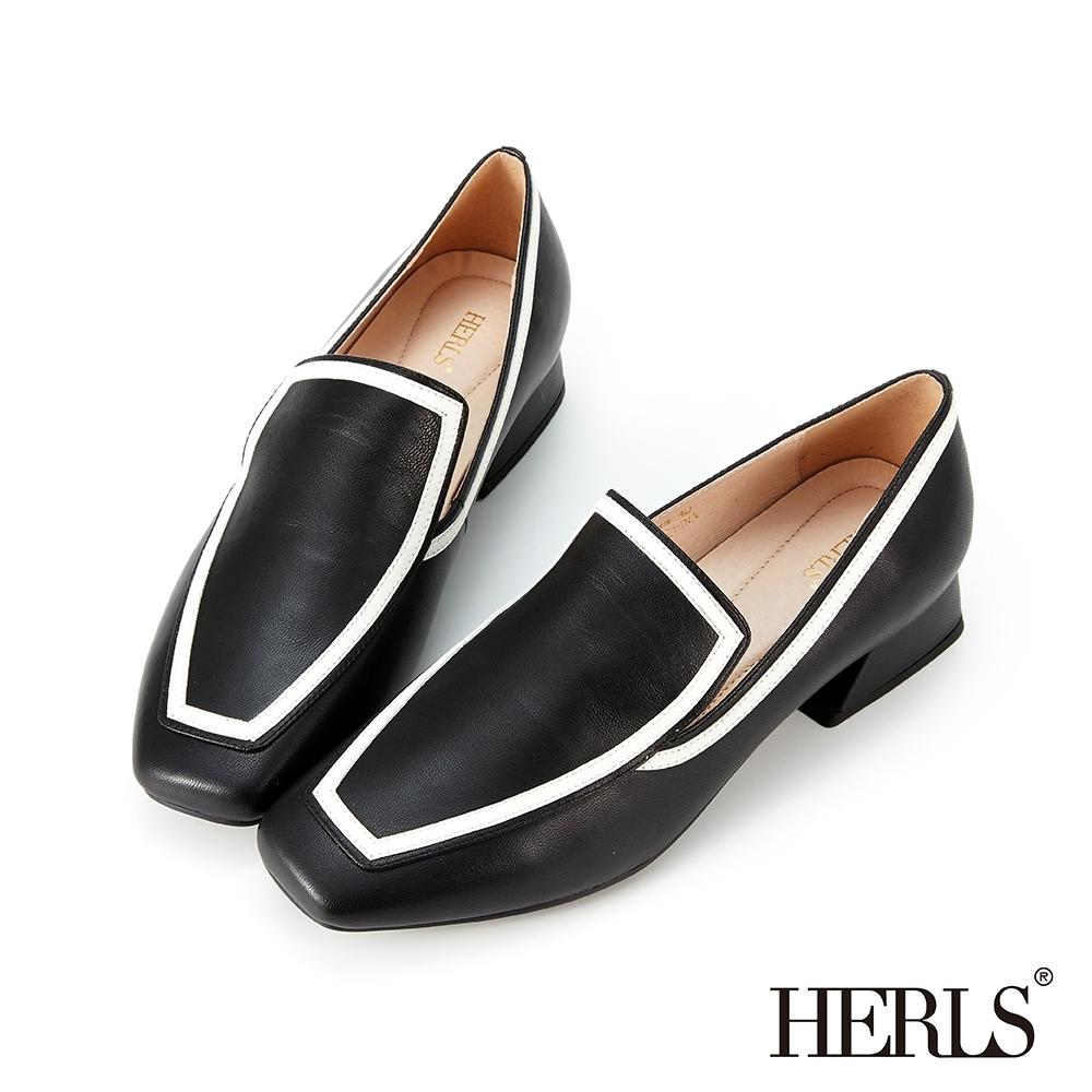 HERLS樂福鞋 全真皮滾邊造型方頭低跟樂福鞋 黑色