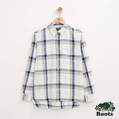 女裝-Roots 男友版長袖格紋襯衫-白