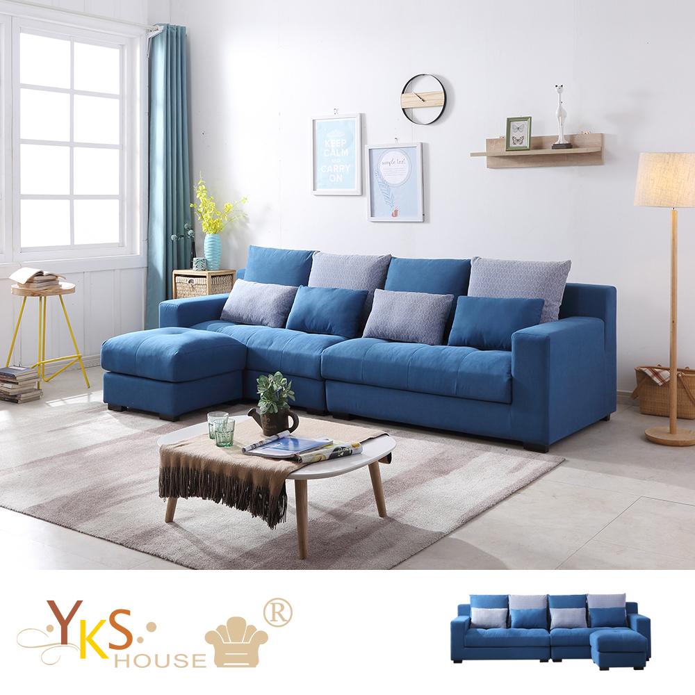 YKS-里歐L型布沙發-乳膠墊+獨立筒版