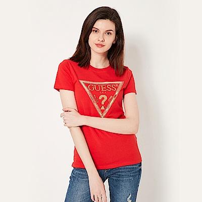 GUESS-女裝-亮片雷射倒三角LOGO短T,T恤-紅 原價1790