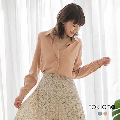 東京著衣-知性姐姐V領襯衫雪紡長袖上衣(共兩色)