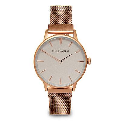 Elie Beaumont 英國手錶 牛津米蘭磁性錶帶系列 白錶盤x玫瑰金錶帶錶框33mm