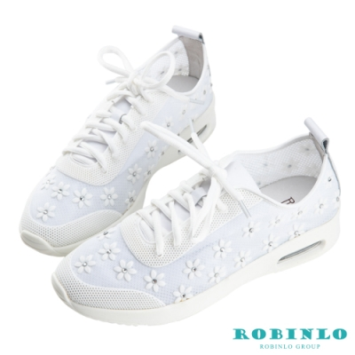 Robinlo盛夏限定輕量透氣花朵綁帶休閒鞋 白色