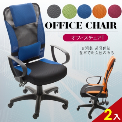 【A1】艾維斯高背護腰透氣網布D扶手電腦椅/辦公椅-箱裝出貨(5色可選-2入)