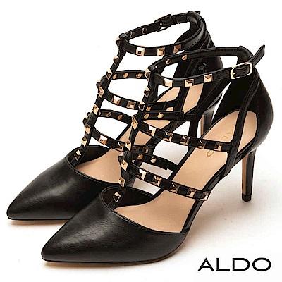 ALDO 原色綴金屬鉚釘尖頭繫帶跟鞋~尊爵黑色